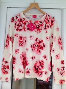 Fashion By Together Rose Garden Cardigan Pink/red/coral And Off White,Large BNWT
