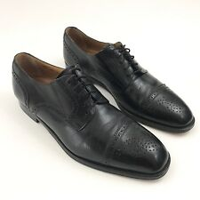 Mr Sid Mens Size 10 Black Leather Dress Shoes Brouge Lace Up Slip On Spain