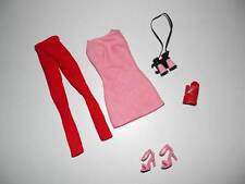 Barbie Model Muse Fashion PINK Speed Racer  MINI DRESS + RED TIGHTS Binoculars