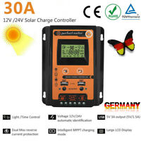 12V/24V 30A MPPT Solar LCD Solarladeregler Dual USB Solarpanel Batterieregler KK