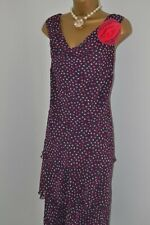 ~ JACQUES VERT ~ Purple Dot Ruffle Dress Size 18 20 Mother of the Bride