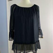 Massini Womens Large Blouse Black Sheer Over Lining Top Ruffled