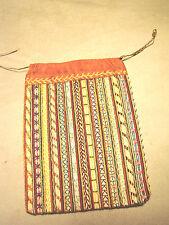 "Vintage Antique sampler Purse Bag EMBROIDERED Ticking Drawstring 6x8"" GC"
