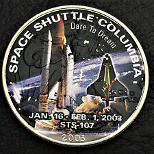 2003 Space Shuttle Columbia Colorized Walking Eagle 1 oz 999 Silver Art Round K1