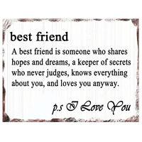 Vintage BEST FRIEND LOVE YOU Plaque Retro Friendship Birthday Wall Sign Gift