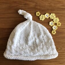 Hand Knitted Newborn Baby Hat Topknot Beanie White Cotton Blend -Comfy & Cute 🐶