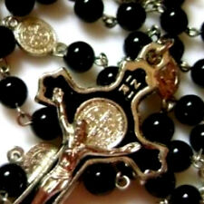 Black Natural Carnelian Agate BEADS St.Benedict ROSARY & CROSS CATHOLIC NECKLACE