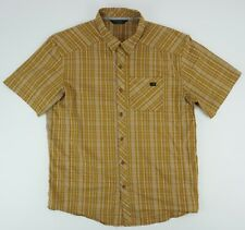 Arc'Teryx Brohm Men's Large Short Sleeve Brown/Orange Plaid Button Up Shirt euc