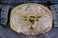 Men Belt Buckle Western Fashion Silver Metal Rodeo Gold Bull Texas Long Horn Cow