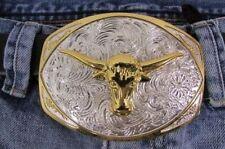Men Belt Buckle Western Fashion Silver Metal Rodeo Gold Bull Texas Long Horn Cow