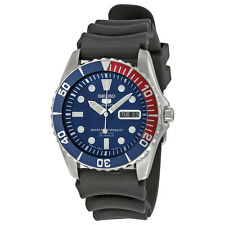 Seiko 5 Sports Automatic Blue Dial Red Bezel Black Strap Mens Watch SNZF15J2