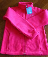 Girls COLUMBIA Hot Pink Soft Fleece Zip-Up Jacket w/ Pockets - Large - NEW