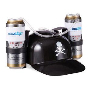 Trinkhelm Pirat, Bierhelm, Saufhelm, Partyhelm, Helm, für 2 Dosen Bier, Schlauch