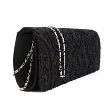 Designer Ladies Clutch Bag, Floral Lace Purse for Parties - Satin Womens Handbag