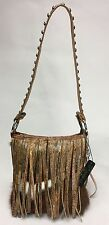 Raviani Shoulder Bag W/ Fringe In Hair On Hide & Silver Stud Accents Made in USA