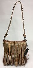 Raviani Brindle Leather Fringe Shoulder Bag With Silver Stud Accents Made in USA