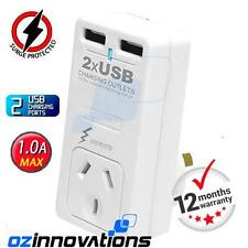 2 USB Power outlet AC charger for Ipad 5V 1A output Surge Protector adaptor