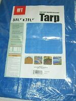 Tarp HFT 5 ft. 6 in. x 7 ft. 6 in. Blue All Purpose Weather Resistant Reinforced