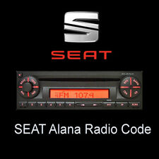 Seat Alana radio code Stéréo Codes PIN Unlock Service Rapide UK
