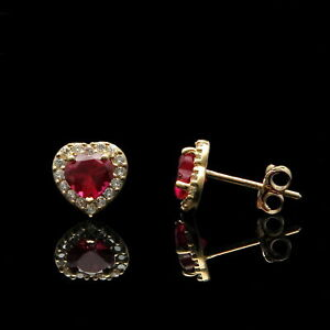 2.50Ct Heart  Cut Red Ruby & Diamond Halo Studs Earrings 14K Yellow Gold Finish