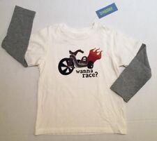NWT Gymboree Sz 5 5T Wanna Race Big Wheel Flames Double Sleeve Tee Shirt