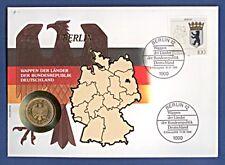 Numisbrief Wappen Länder BRD Berlin 1 DMark -D- 1991 Stempel 1992 NBA17/95