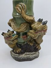 Foo Dog Dragon Vase Bamboo Vintage Ceramic Rare Double Dragons Fortune Statue