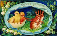 Easter~RABBITS & CHICKS IN BLUE EGG~Series 1520a GERMANY Gold Embossed Postcard