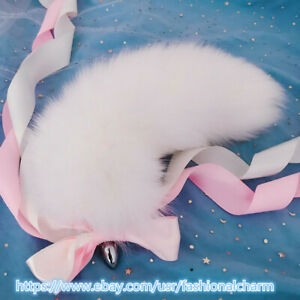 """40cm/16"""" Real Fox Fur Tail Plug Stainless Steel Adult Sexual Sweet Cosplay Toy"""