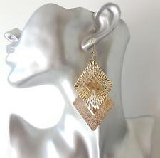 Beautiful 9cm long gold tone layered diamond shaped drop - dangle earrings