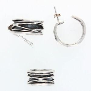 Handmade Solid Sterling Silver Crinkle Earrings & Rings Set