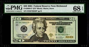 $20 2004 Federal Reserve * Star Note Richmond Fr#2089-E* PMG 68 EPQ Superb Gem