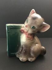 Vintage Royal Copley Ceramic Cat Kitty w/ Pink Bow & Teal Book Planter Vase Deco