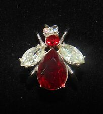 Vintage RED BEE BUG JELLY BELLY brooch pin jewelry lot