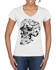 Cotton V Neck Short Sleeve Floral Tops & Shirts for Women