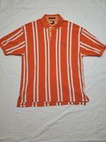 Vintage Tommy Hilfiger Orange and White Polo Shirt Size XL