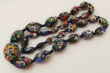 VINTAGE VENETIAN MURANO MILLEFIORI GLASS BEAD NECKLACE - GRADUATED LONG LENGTH