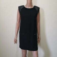 Mango Suit Black Mini Dress with Leather Shoulder Caps