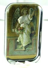 Vintage Early Lovely Guardian Angel Gabriel Glass & Metallic Image Felt