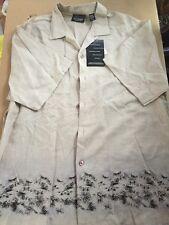 Greg Norman Collection Hawaiian Button Up Tan Shirt Men's Size Medium M - NWT