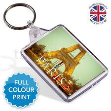 Paris Eiffel Tower France Souvenir Photo Gift Keyring Key Fob 50 x 35mm | Medium