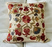 Rare! Pottery Barn Fall Floral Embroidered Pillow Cover 20 X 20 ~ EUC