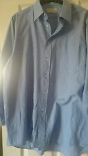 Man's classic blue stripe cotton blend long sleeve shirt by Debenham size 16in