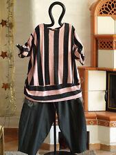 MEXXOO DESIGN Lagenlook Tunika Big Shirt Längsstreifen rosa anthra EG (1222)