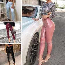 Women Latex PU Leather Trousers High Waist Skinny Leggings Wet Look Pencil Pants