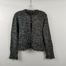 Tahari Open Front Jacket Black White Marled Fringe Detail Women's Size Medium