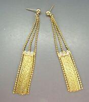 Vintage GOLD TONE DANGLE EARRINGS Chain Fringe Drop RHINESTONES ART DECO STYLE