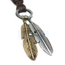 Men Vintage Fashion Angel Feather Pendant Adjustable Leather Chain Necklace MA