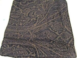 "NEW! Set of 5-100% cotton 18"" square Napkins Gold Paisley on Black"