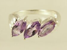 1.95CT MARQUISE CUT AMETHYST STERLING SILVER RING SIZE N/7 CLEARANCE SALE NEW